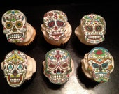 Sugar Skull Day of the Dead Fondant Cupcake Toppers