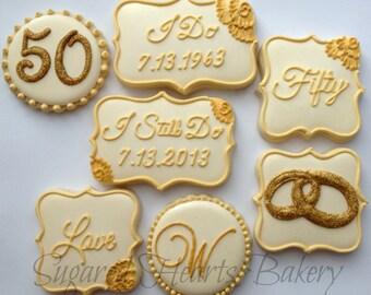 50th Wedding Anniversary Cookies - 1 Dozen