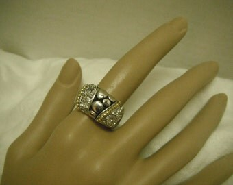 Faux silver, gold and rhinestones band ring
