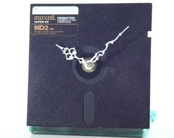 5 1/4 floppy disc mounted on CD Rom Case, Desk Clock, Geekery, Clocks by DanO