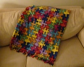 RESERVED for JULES:  DID, Autism, Jigsaw Puzzle Piece Fleece Throw Hand Tied