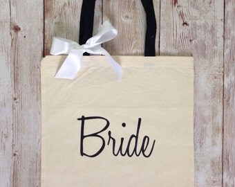 Bride Tote Bag with Bow. Bride, Bridesmaid, Maid of Honor, Matron of Honor, Groom. Wedding Bridal Gift. Bridal Party tote bags