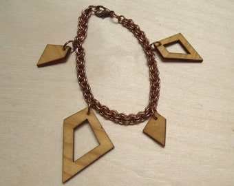 Copper & Wood Charm Bracelet