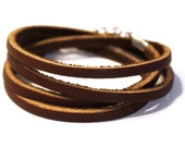 Brown Multi Wrap Thin Leather Bracelet, Multi Strand Cuff
