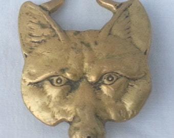 Antique Mexican Folk Art Brass Coyote Head