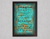 Imagine All the People - Photo Poster Print - Beatles Lyrics Quote Type Blue Teal Rust Texture Distressed Rock N Roll Rustic Wall Art