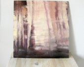 Abstract oil painting - purple and yellow - city lights through curtain