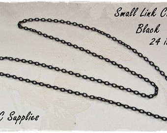 40 Small Link Chain Necklace - 2 x 3 Oval Link BLACK Jewelry Chain