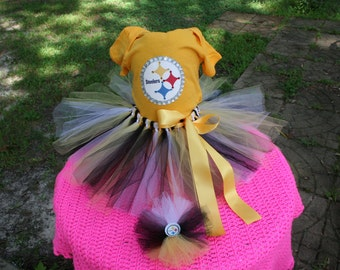 Custom made Boutique Pageant 3pc Pittsburgh Steelers theme infant tutu set with matching bottlecap hairbow size 18m