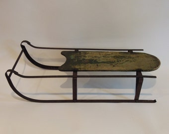 RESERVED -  Antique Child's Sled with Iron Runners, Sleigh