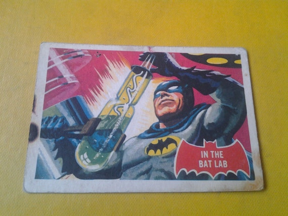 1966 Batman Trading Card. In The Bat Lab. Number 25a.