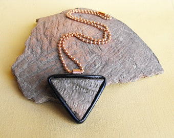 Ancient Native American Indian Pottery Shard Pendant with Molded Leather Bezel and Copper Bail