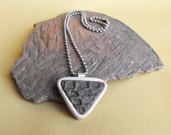 Ancient Native American Indian Pottery Shard Pendant with Molded Leather Bezel and .999 Fine Silver Bail