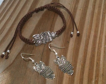 Retro Owl Jewelry Set Bracelet and Earrings You Choose Bracelet Color