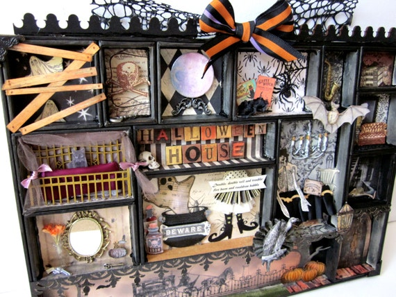 halloween house configuration box decoration shadow box. Black Bedroom Furniture Sets. Home Design Ideas