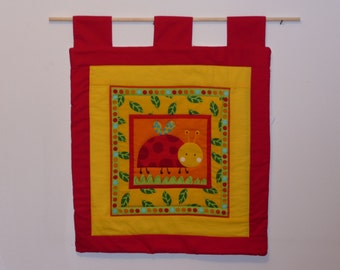 Quilted beetle wall hanging. A gift for born baby. A gift for baby shower or for birthday. Animal picture.