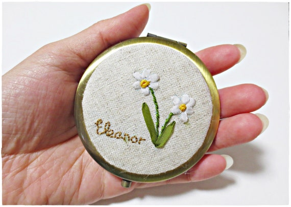 Personalized compact mirror with daffodil and name ribbon embroidery