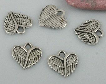 66pcs tibetan silver color heart shaped charms EF0516