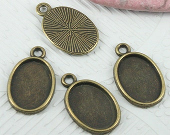 42pcs tibetan silver cabochon settings with textured back EF0689
