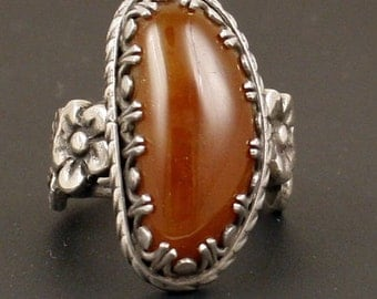 Sterling Silver Artisan Handmade Agate Fine Jewelry Ring