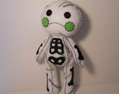 Felt stitched cute white zombie corpse plush stuffed rag doll