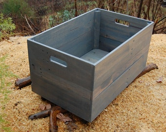 Large Classic Gray Wood Crate-Toy Storage- Reclaimed Wood- Wooden Crate