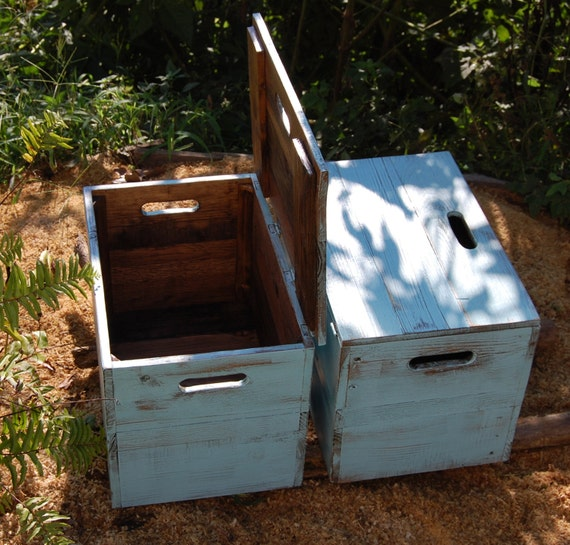 Items similar to distressed turquoise wooden crate end for Wooden crate bedside table