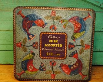 hippy chic BIRD mosaic CADBURYS biscut tin Made in ENGLAND vintage antique tin birds flowers blue purple romantic shabby chic large storage
