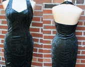 Vintage 90s Grey Crushed Velvet Body Con Dress
