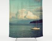 Must Sea - Fabric Shower Curtain  - Original Photograpy by RDelean Designs, sea, ocean, sailboat, nautical, blue, clouds