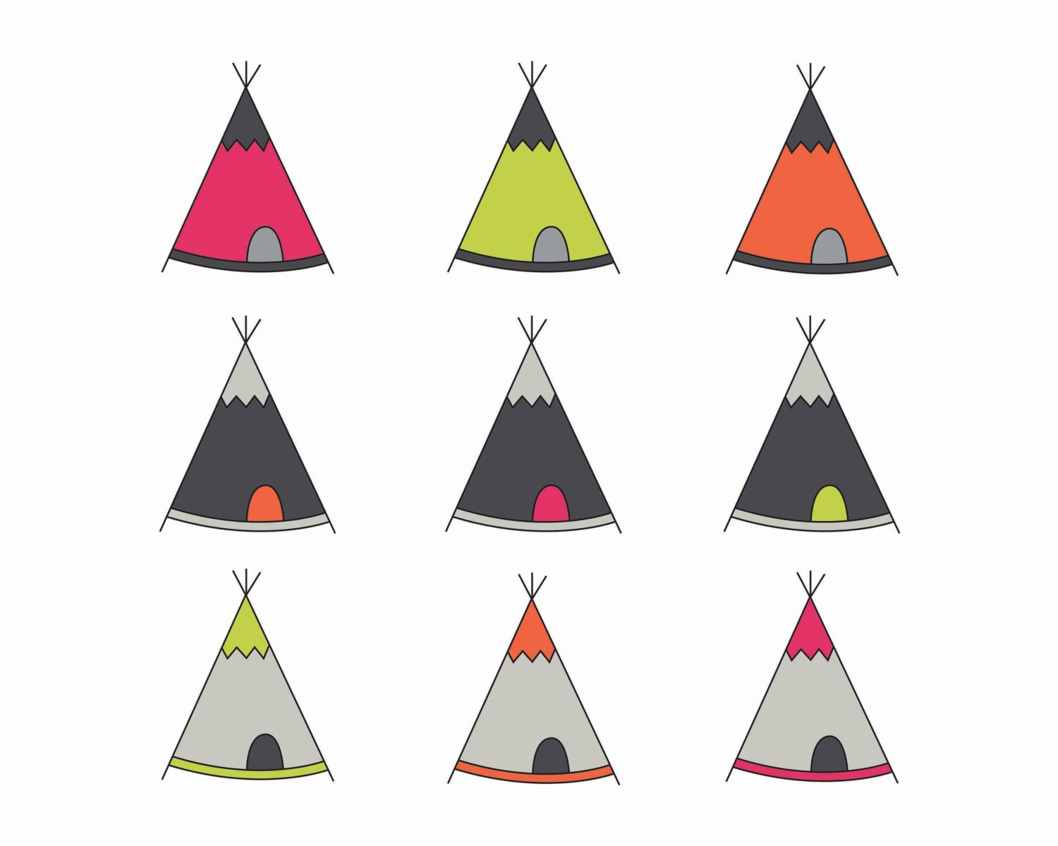 Items similar to 60% OFF SALE Digital Clipart Teepee Tent Clip Art ...