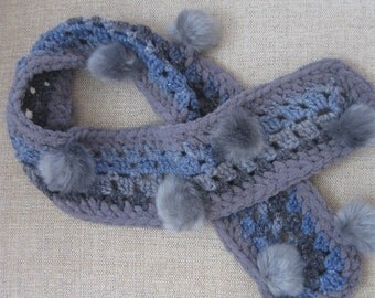 Blue and Gray Pompom Scarf