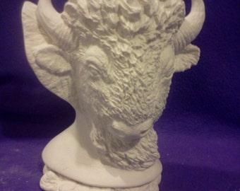 Ceramic Nowells Buffalo Bust ready to paint