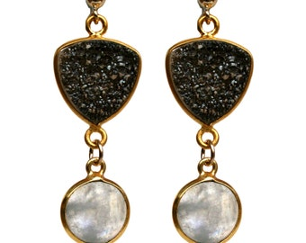 Black Druzy and Rainbow Moonstone Earrings with Gold Posts