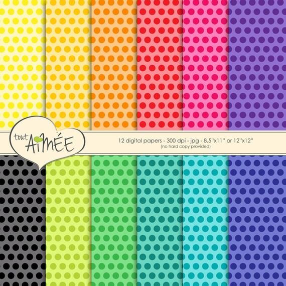 Polka Dot Digital Scrapbook Paper Bright Multi Color Tonal