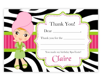 Spa Party Thank You Card - Hot Pink, Lime Green, Zebra Print, Cute Spa Girl Personalized Birthday Party Thank You - a Digital Printable File