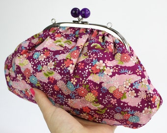 Japanese Clutch Bag, Kimono Style Purple Cherry Blossoms Cotton, Kisslock Frame with Purple Balls