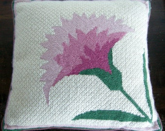 Hand Crafted Floral Needlepoint Throw Pillow
