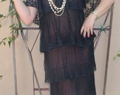 Beautiful Tiered Sheer Black Lace Flapper Style Dress With Flutter Sleeves.