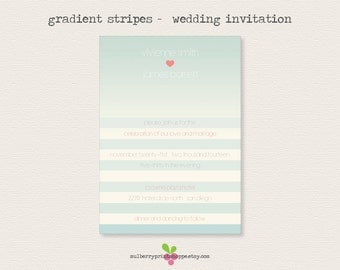 Gradient Stripes - Wedding Invitation - Printable or Printed Cards