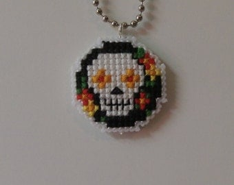 Cross Stitch Sugar Skull Medallion Necklace Black/Green