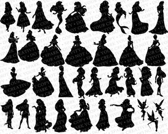 Disney Princess Silhouettes // 35 Silhouettes // Disney Princesses Silhouette // Disney Clipart // Princess Silhouettes