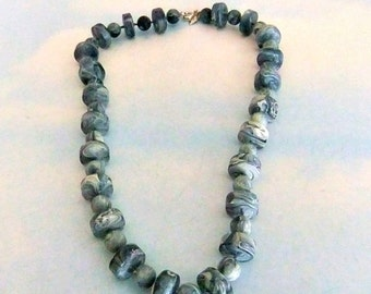 Blue Marbled Bead Necklace Lucite  Sarah Coventry
