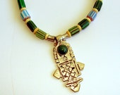 Ethiopian Cross Necklace.  Green chevron trade beads necklace.  Silver cross necklace with aventurine stone.  Boho.  Tribal.  Ethnic.