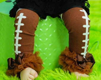 Football  Leg Warmers Baby Outfit  leggings pants with tulle ruffles Broncos Seahawks choose NFL TEAM color