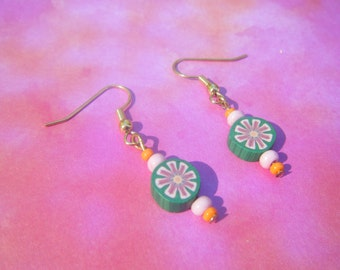 Pink Polymer Flower Earrings.