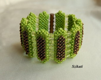 SALE! 10% OFF! Green/Bronze Statement Beadwoven Cuff Bracelet, Women's Beaded High Fashion Jewelry, Beadwork Accessory, Gift for Her, OOAK