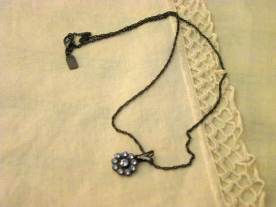 1928 Jewelry Blue Rhinestone Pendant Necklace Gunmetal Gray Chain 17 Inch