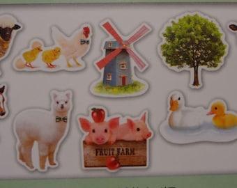 Japan Qlia kawaii Photrip 70pcs FARM ANIMALS stickers flake/81333