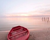 Red boat on the seashore, sunset pink,  home decor photography , 8x11, 8x10, 6x4 inch - Fine Art Photography